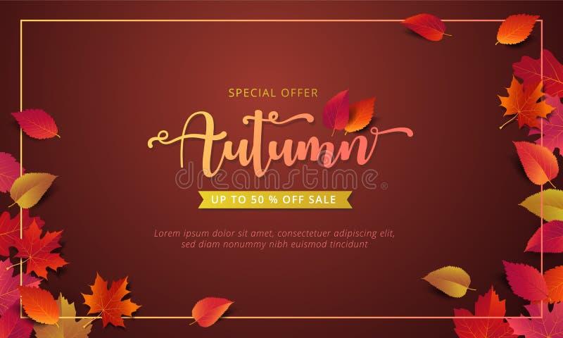 Herbstverkaufsfahnen-Planschablone verzieren mit Ahorn und realistische Blätter in der warmen Farbe tonen lizenzfreie abbildung