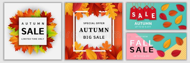 Herbstverkaufsfall-Fahnensatz, realistische Art lizenzfreie abbildung