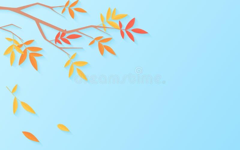 Herbstverkaufshintergrund mit Baumast mit Mehrfarbenblättern für Einkaufsverkauf oder Promoplakat Netzfahnenvektor vektor abbildung
