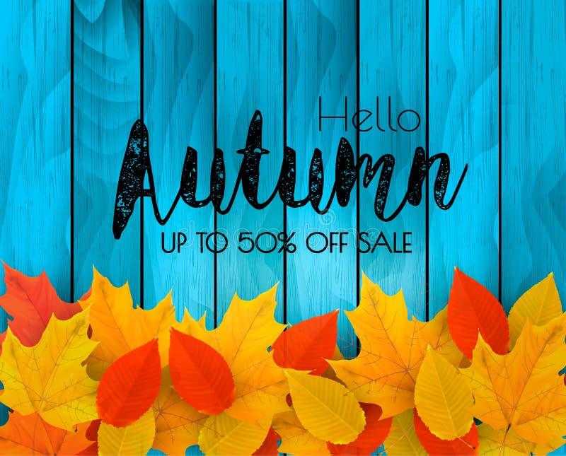 Herbstverkaufshintergrund mit bunten Blättern auf Holzschild vektor abbildung