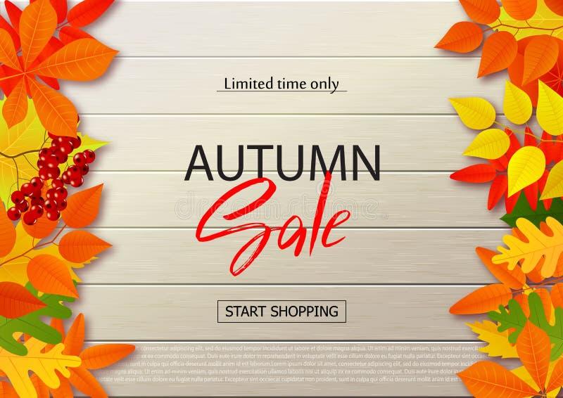 Herbstverkaufsplakat mit Fall verlässt auf hölzernen Hintergründen Vector Illustration für Website und bewegliche Websitefahnen lizenzfreie stockfotografie