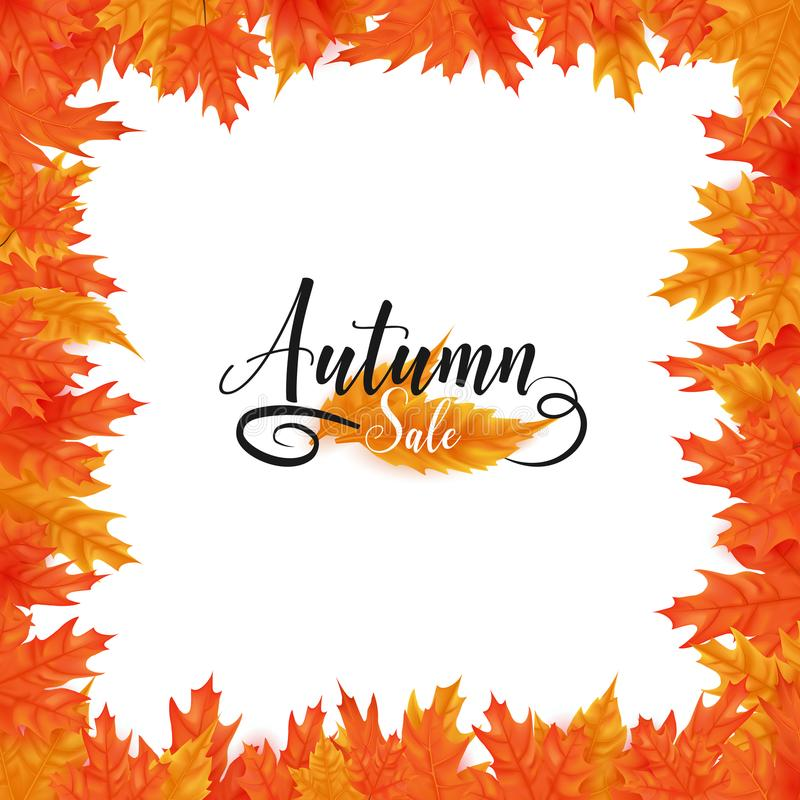 Herbstverkaufsrahmen-Weißhintergrund stock abbildung