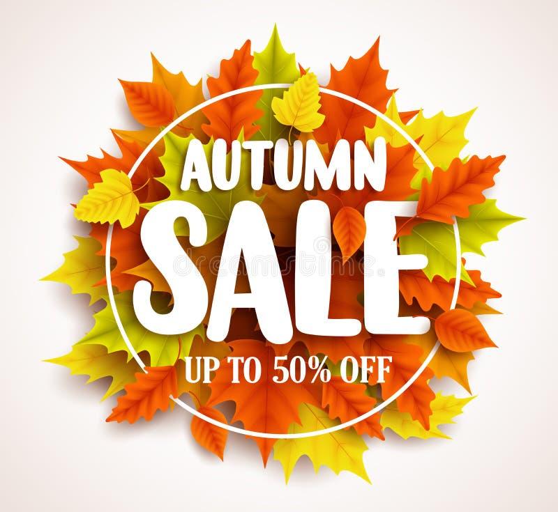 Herbstverkaufsvektor-Fahnendesign mit Text in den bunten Fallblättern und im Kreisrahmen stock abbildung
