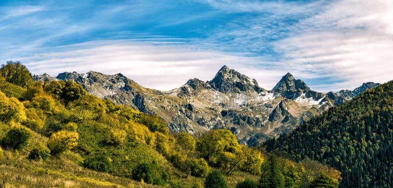 Herbstwald in Bergen und blauem Himmel lizenzfreie stockfotografie
