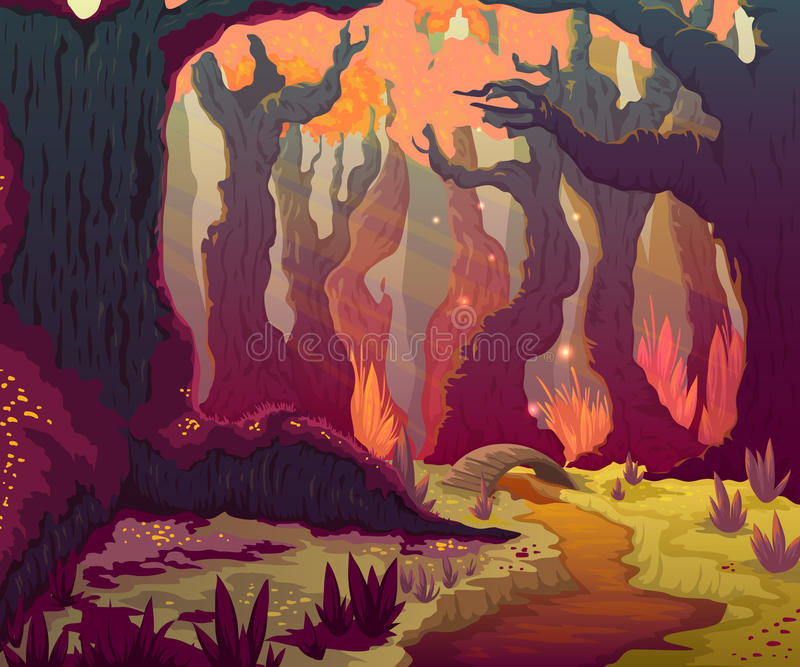 Herbstwaldlandschaft mit Bäumen, Fluss und Brücke Karikaturmärchen-Landschaftshintergrund vektor abbildung