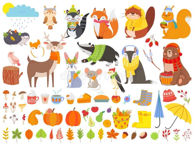 Herbstwaldtiere Falleichhörnchen, lustiger Bär und netter herbstlicher Fuchs Gefallener Blattkarikatur-Vektorsatz vektor abbildung