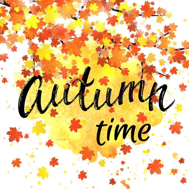 Herbstzeit-Beschriftungsfahne Saisonfallplakat mit strukturierte Hand gezeichneter Typografie und bunte Blätter auf Zusammenfassu lizenzfreie abbildung