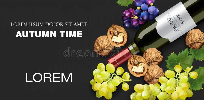 Herbstzeit-Fahne Vektor realistisch Weinflasche, Trauben und Walnüsse Ausführliches Design 3d Dunkle Hintergründe lizenzfreie abbildung
