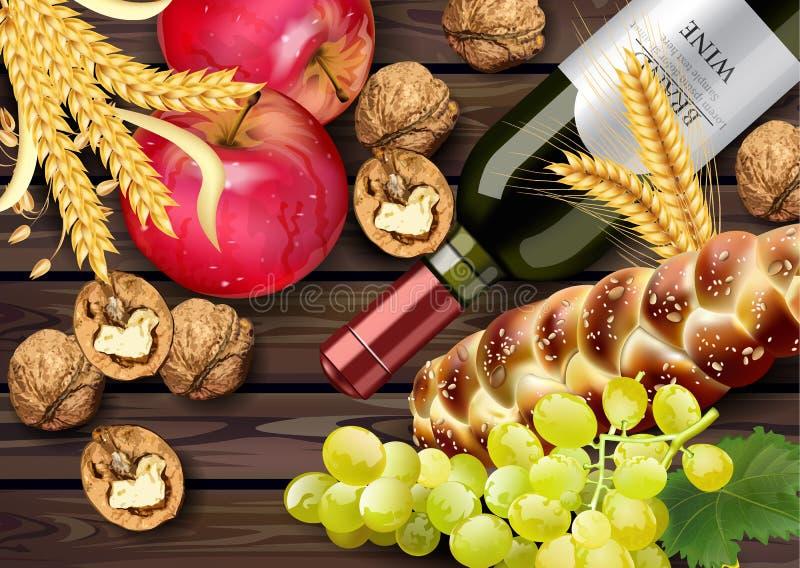 Herbstzeit-Fahne Vektor realistisch Weinflasche, Trauben und Walnüsse Ausführliches Design 3d Hölzerne Hintergründe stock abbildung