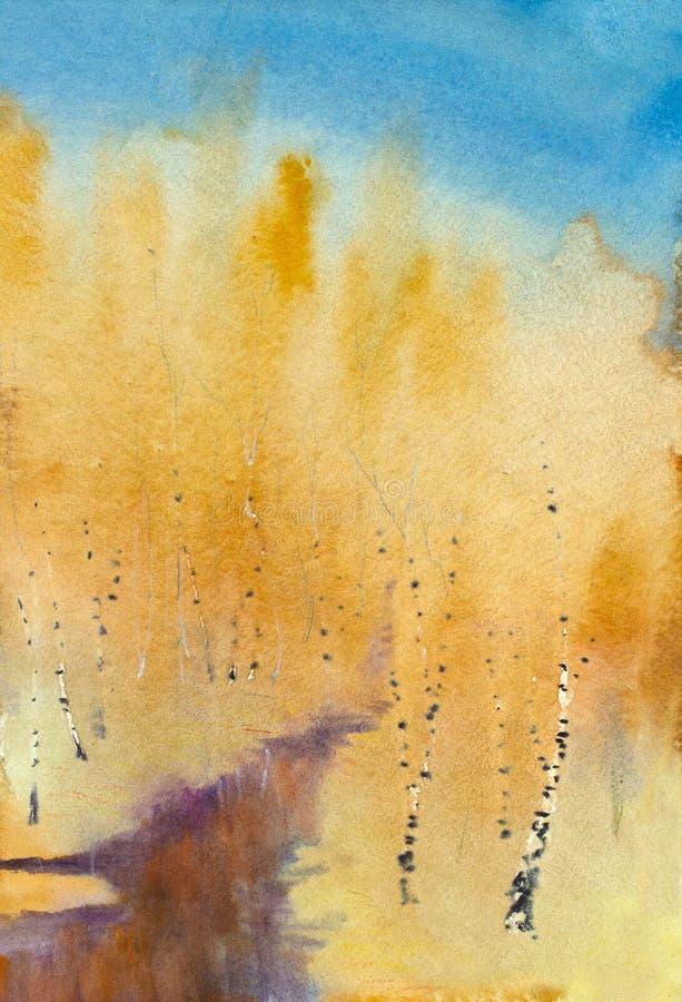 Herbstzeit und dunkler Fluss lizenzfreie abbildung