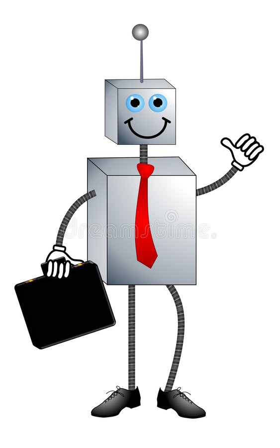 Herby The Job Replacement Robot. An illustration featuring a cartoonish robot wearing a red tie, carrying a briefcase with a smile and fancy new shoes. For use stock illustration
