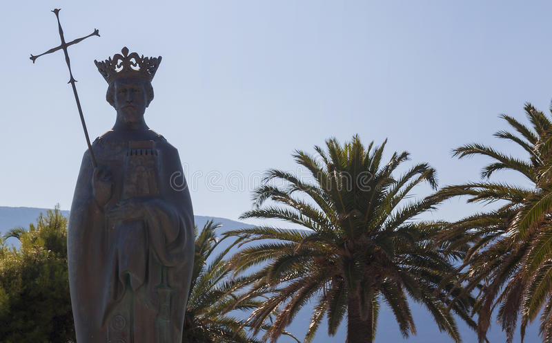 Herceg Novi Μαυροβούνιο Μνημείο στο θαλάσσιο λιμένα κασσίτερου βασιλιάδων στοκ φωτογραφίες με δικαίωμα ελεύθερης χρήσης