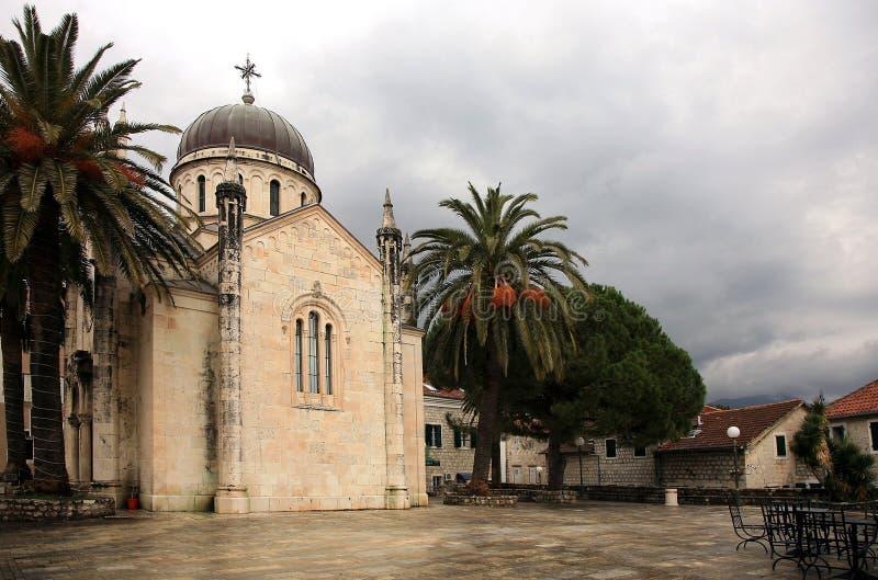 Herceg Novi. Church on Trg Herceg Stefan in Herceg Novi stock image
