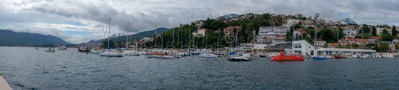 Herceg Novi marinaport på Adriatiskt havet, Montenegro arkivfoto
