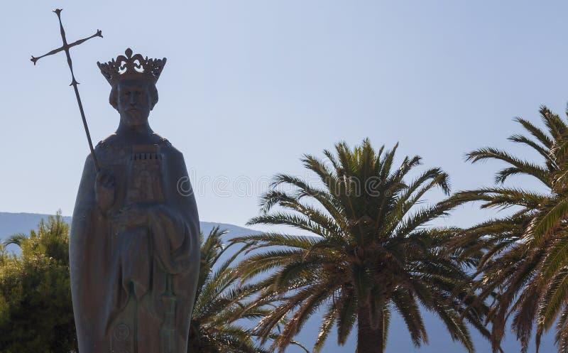 Herceg Novi montenegro Monumento al rey Tin Seaport fotos de archivo libres de regalías