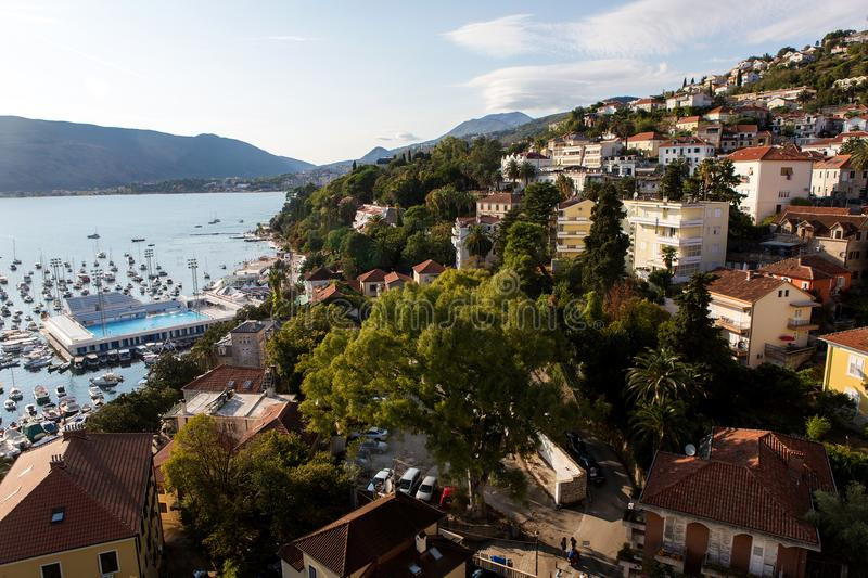 City center near the water in the Herceg Novi stock images