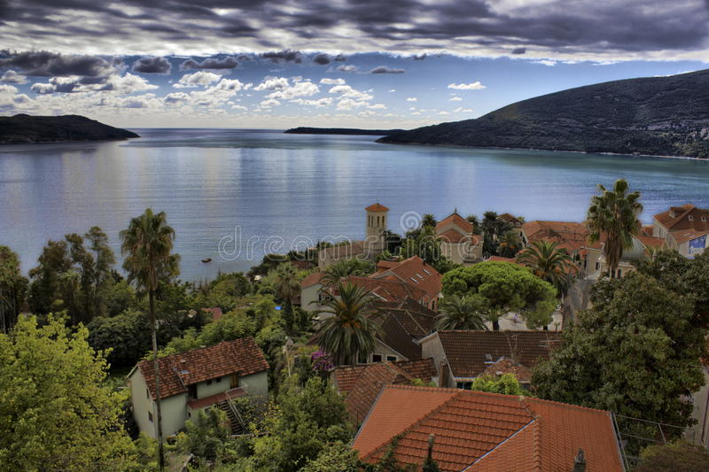 Herceg Novi. (Herceg-Novi, Serbia. , , Italian. Castelnuovo) — a town in Montenegro. Located on the shores of the Bay of Kotor Adriatic sea royalty free stock photo