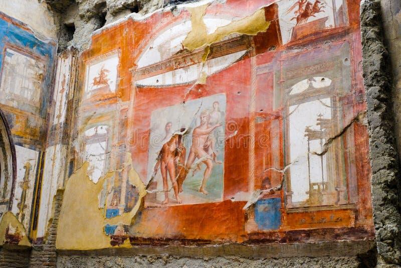 Herculaneum, ?????? ??????? ???? Ζωγραφική τοίχων νωπογραφίας Ποσειδώνα και Aimone, Ercolan στοκ εικόνες με δικαίωμα ελεύθερης χρήσης