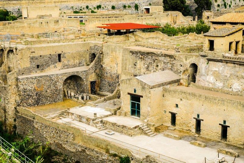 Herculaneum, ?????? ??????? ???? Φραγμοί πόλεων με τα πεζούλια, Ercolano, Ιταλία στοκ εικόνες