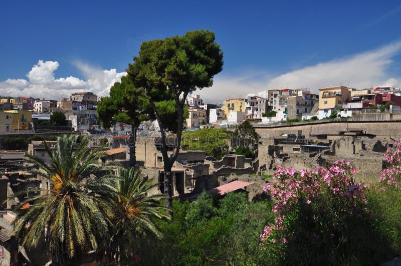 Herculaneum arkeologisk plats vid Naples, Italien royaltyfria foton