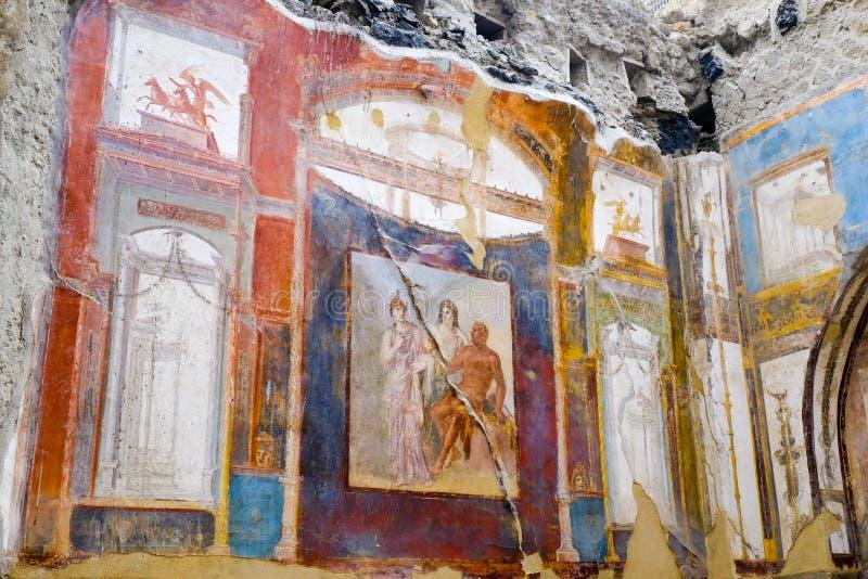Herculaneum, ?????? ??????? ???? Hercules, Juno και νωπογραφία Minerva, κολλέγιο του Augustans, Ercolano, στοκ εικόνα