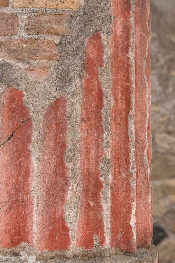 Herculaneum, Italië Sluit omhoog van muur en steun pijlers, in ruïnes van Roman stad van Herculaneum/Ercolano dichtbij Napels, It royalty-vrije stock afbeeldingen