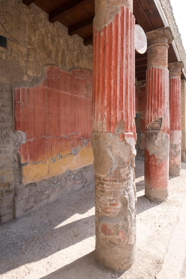 Herculaneum, Italy. Close up of wall and support pillars, in ruins of Roman town of Herculaneum / Ercolano near Naples, Italy. stock photos