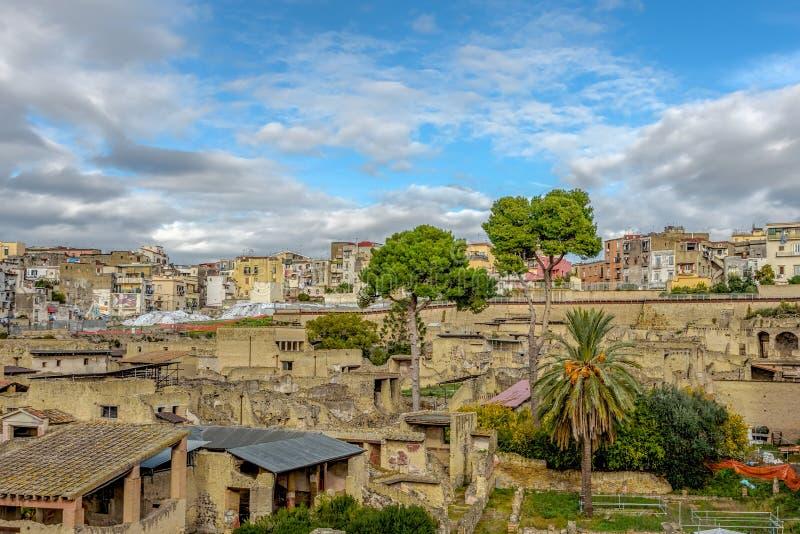 Herculaneum Romańskie ruiny, zatoka Naples, Ercolano, Campania, Włochy fotografia stock