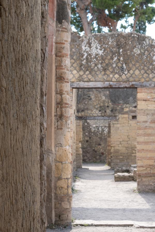 Herculanum, Italie Fermez-vous du détail d'apparence de mur, dans les ruines de la ville romaine de Herculanum/d'Ercolano près de photo stock