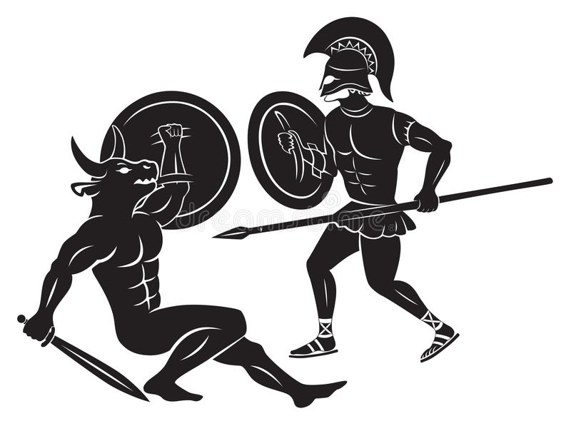 Hercules και Minotaur διανυσματική απεικόνιση