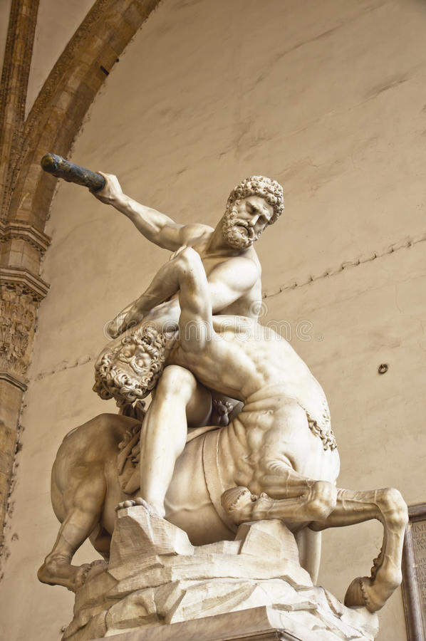 Hercules and the Centaur Nessus stock photos