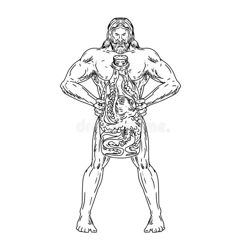 Hercules chwyta butelki ośmiornica Wśrodku Rysować Czarny I Biały ilustracja wektor