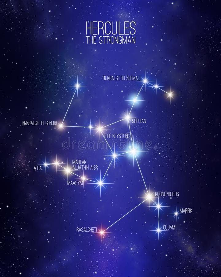 Hercules a constelação do homem forte em um fundo estrelado do espaço ilustração royalty free