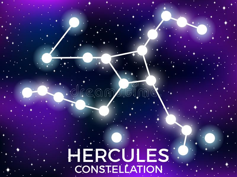 Hercules constellation. Starry night sky. Cluster of stars and galaxies. Deep space. Vector. Illustration stock illustration