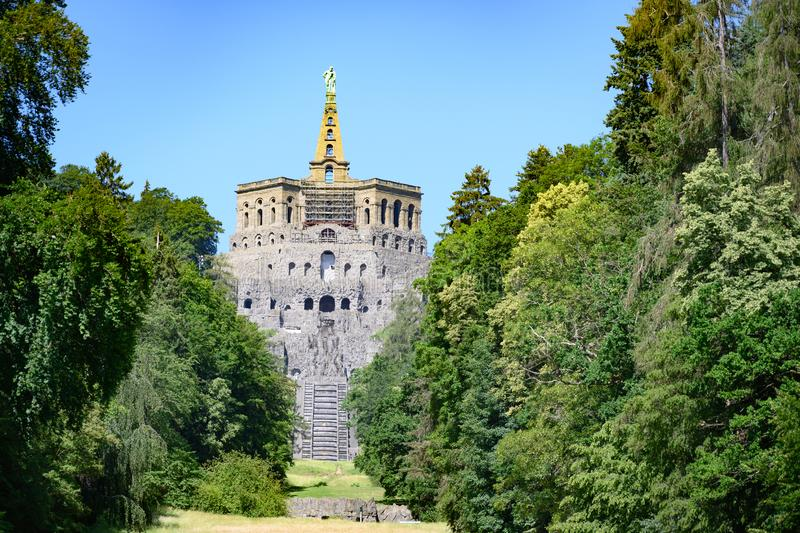 Hercules monument and cascades, Wilhelmshoehe Mountainpark, Bergpark, Castle Park, Germany stock photo