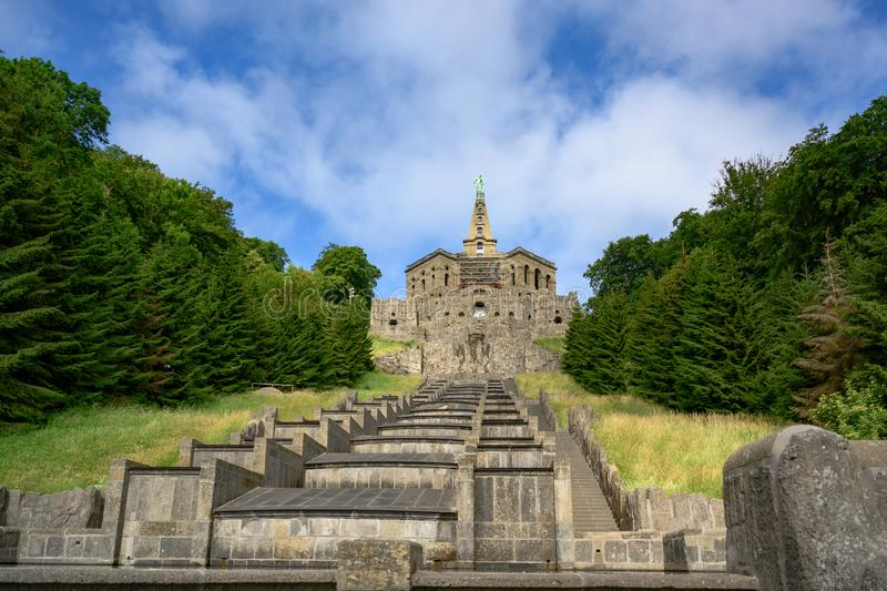 Hercules monument and cascades, Wilhelmshoehe Mountainpark, Bergpark, Castle Park, Germany royalty free stock image