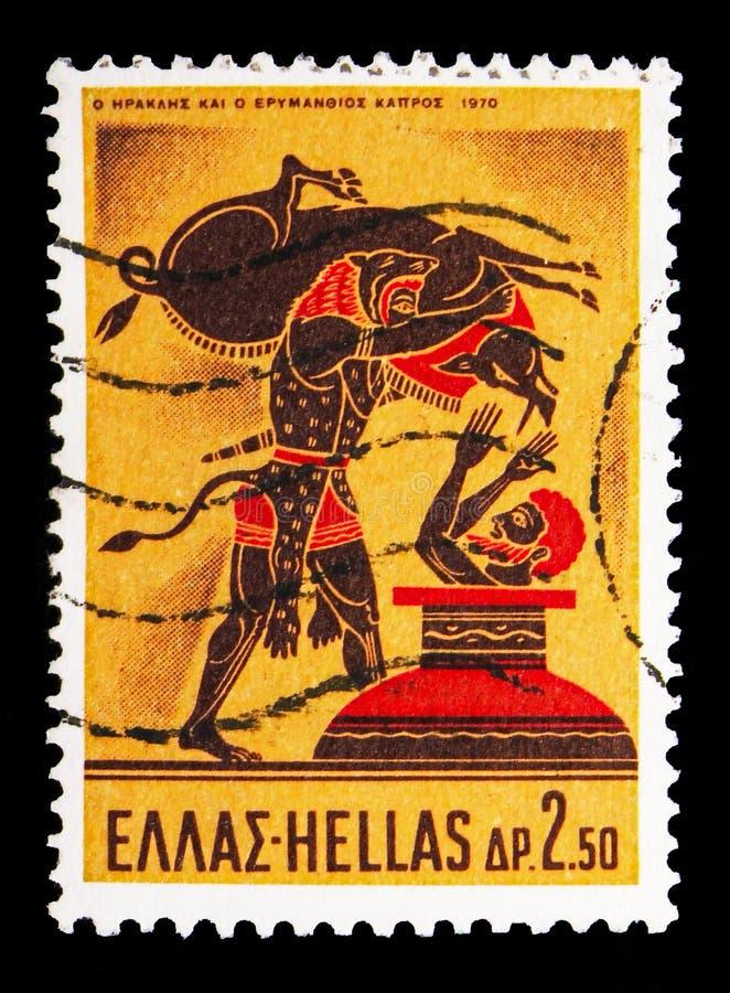 Hercules Deeds - Hercules en de Erymanthian-Beer, Griekse Mythol stock afbeeldingen