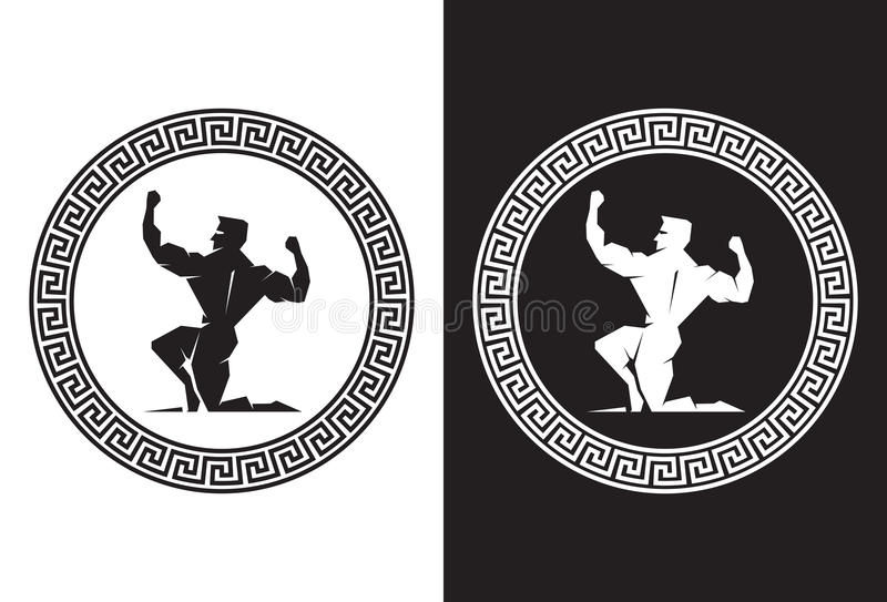 Hercules dentro de uma opinião grega da parte traseira da chave ilustração stock