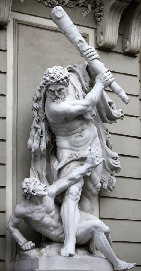 Hercules en Busiris stock foto's