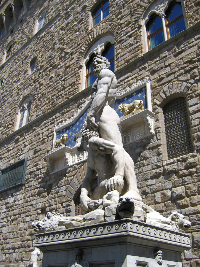 Hercules en Cacus royalty-vrije stock afbeelding