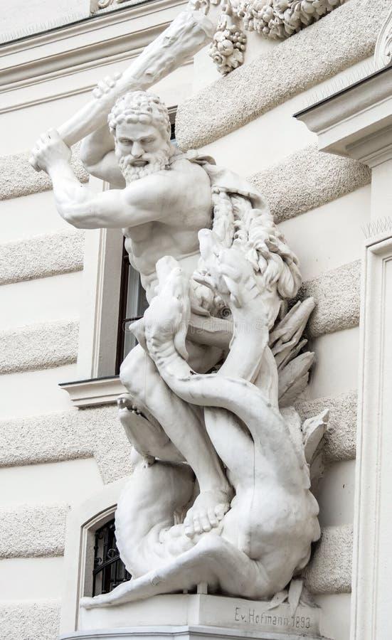 Hercules en Cerberus - Hofburg Wenen Oostenrijk stock fotografie