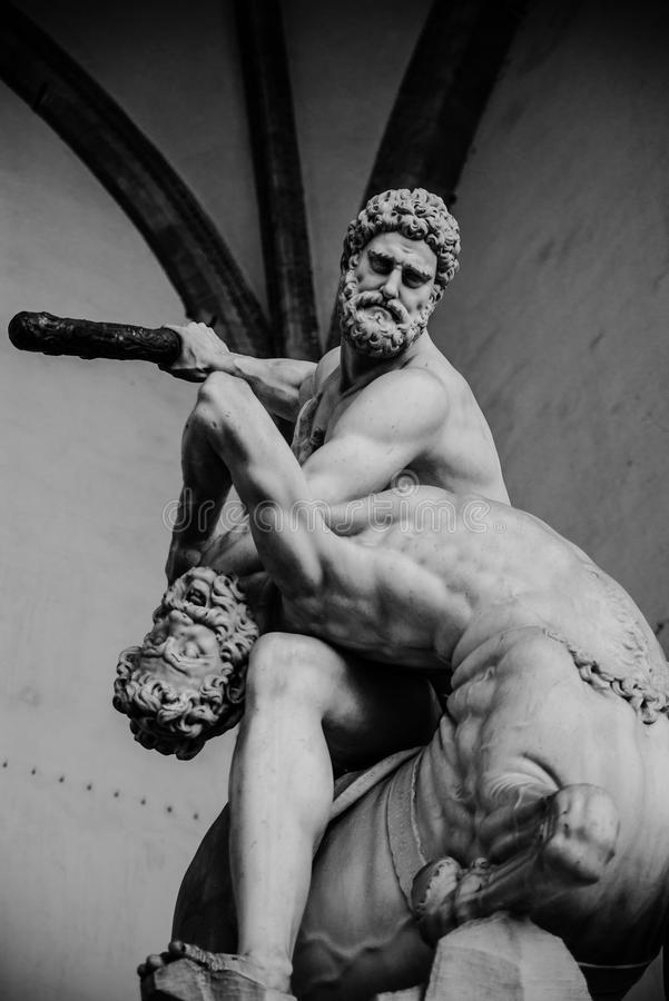 Hercules en de Centaur stock foto