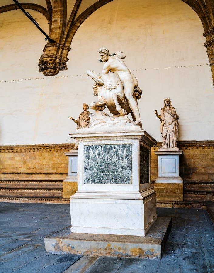 Hercules en Nessus Loggiadei Lanzi in Florence stock fotografie