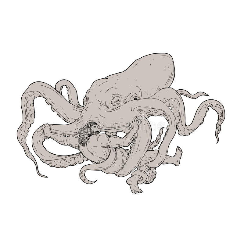Hercules Fighting Giant Octopus Drawing stock illustratie