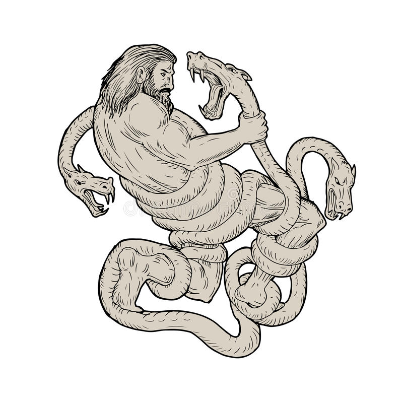 Hercules Fighting Lernaean Hydra Drawing vector illustratie