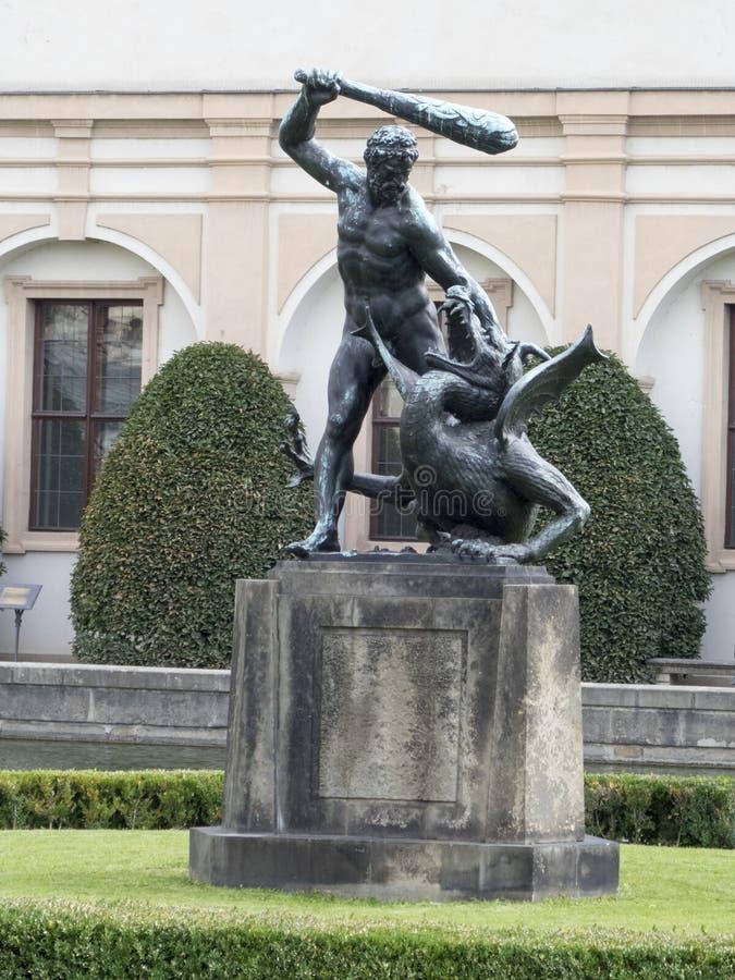 Hercules-fontein, Wallenstein-Tuin, Praag royalty-vrije stock afbeeldingen