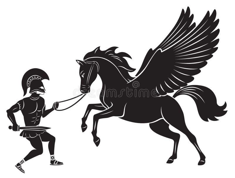 Hercules i pegaz royalty ilustracja