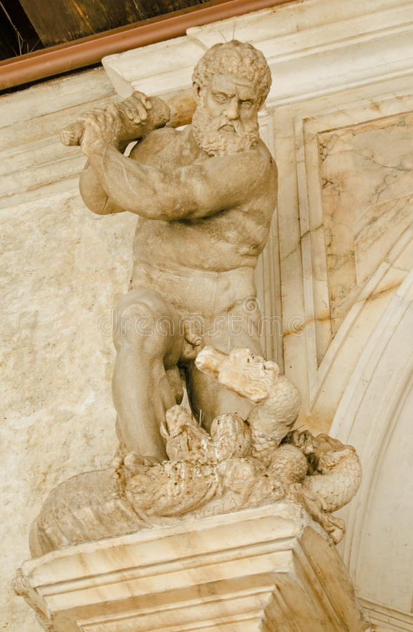 Hercules killing Hydra statue, Venice royalty free stock images