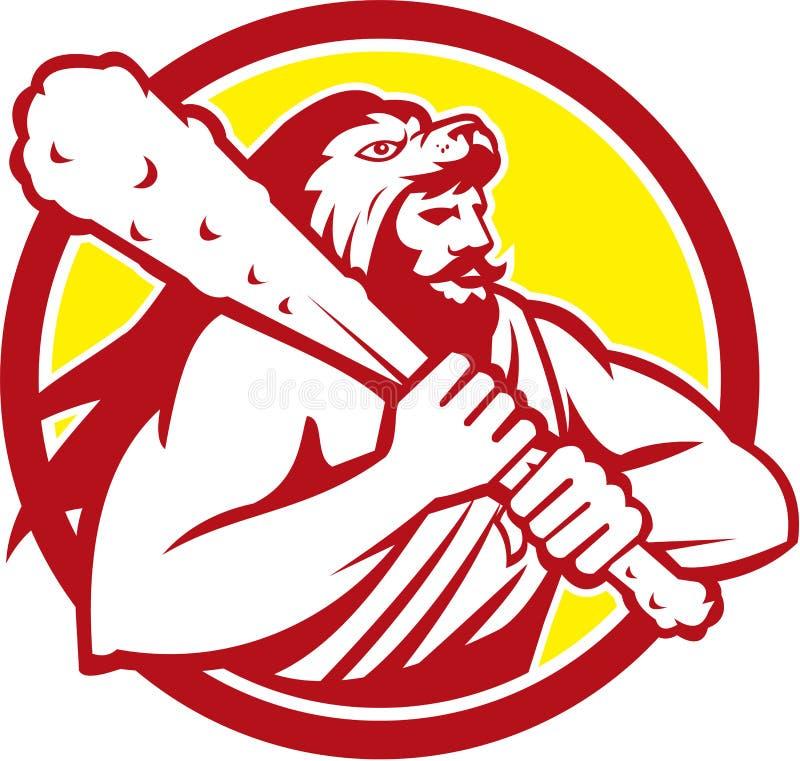 Hercules Lion Skin Wield Club Circle retro ilustração do vetor