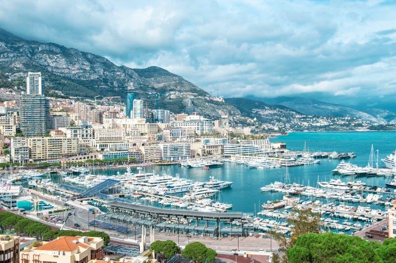 Hercules Mediterranean Sea för port för siktsMonaco hamn landskap arkivfoto